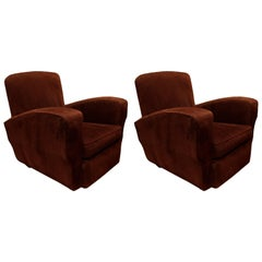 Pair of French Corduroy Club Chairs