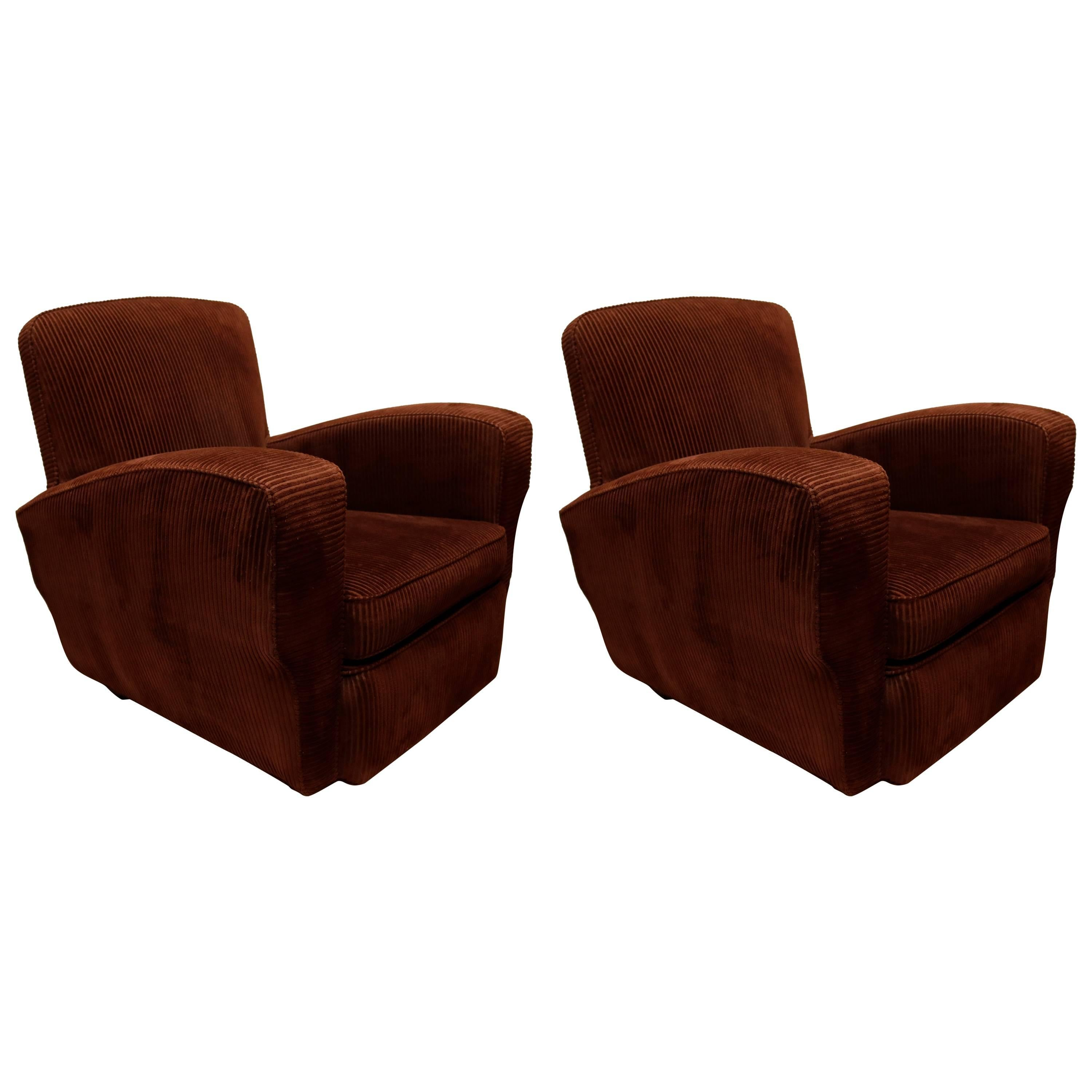 Captivating Pair Of French Corduroy Club Chairs 1