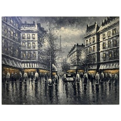"Mid-Century Modern Original Oil on Canvas Painting ""Paris at Night"""