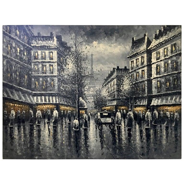 "Mid-Century Modern Original Oil on Canvas Painting ""Paris at Night"""