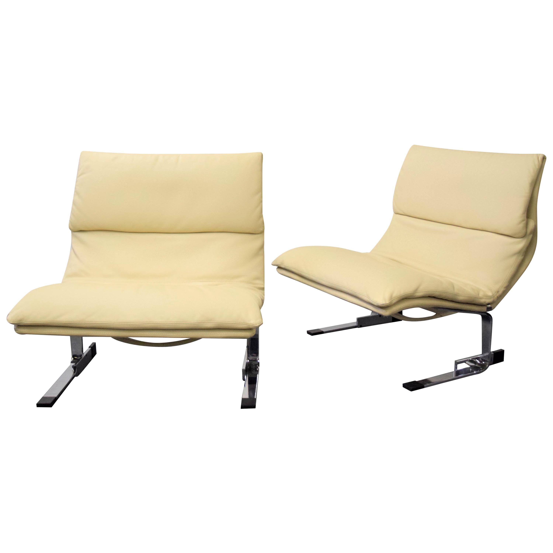 Pair of Leather Saporiti 'Onda' Wave Lounge Chairs
