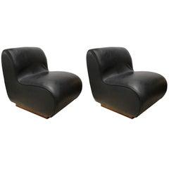 Pair of Black, 1970s Naugahyde Slipper Chairs on Wood Base