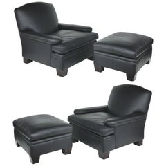 Ralph Lauren London Leather Club Chairs with Matching Ottomans, Pair