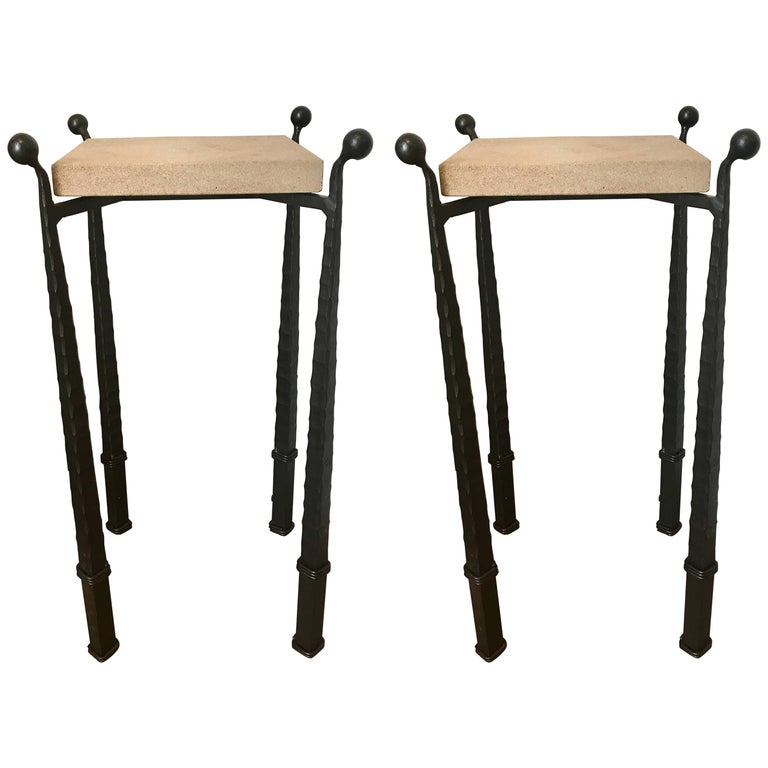 Pair of Forged Iron and Limestone Side Tables, in the Manner of Giacometti