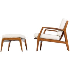 Ib Kofod-Larsen Bone / Ivory Leather Danish Chair and Ottoman