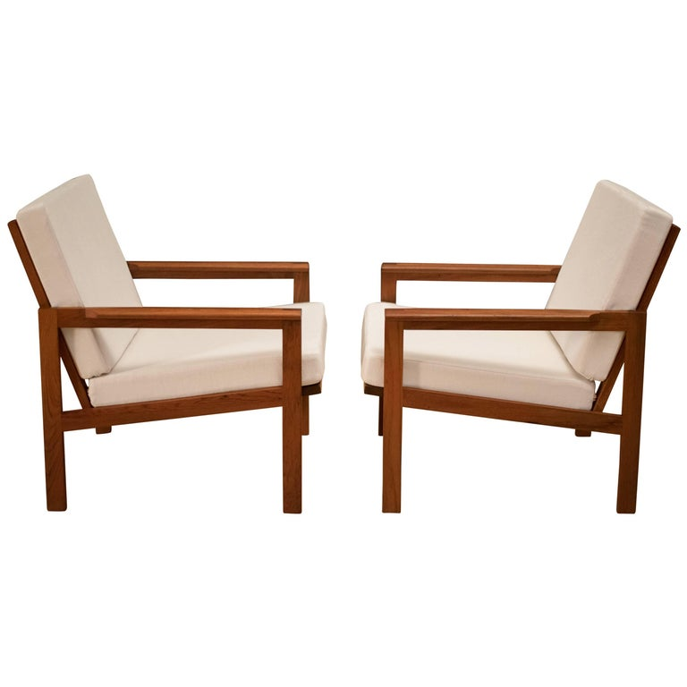 Pair of Danish Teak Lounge Chairs by Illum Wikkelso