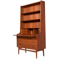 Danish Teak Bookcase Tambour Door Secretary Hutch with Pullout Desk Top