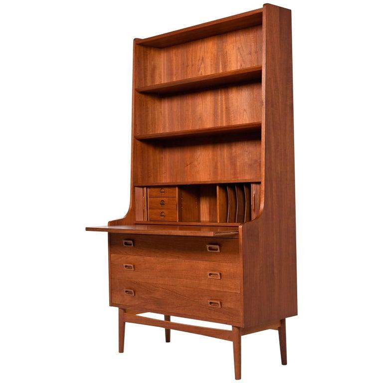 Danish Teak Bookcase Tambour Door Secretary Hutch With Pullout Desk Top For