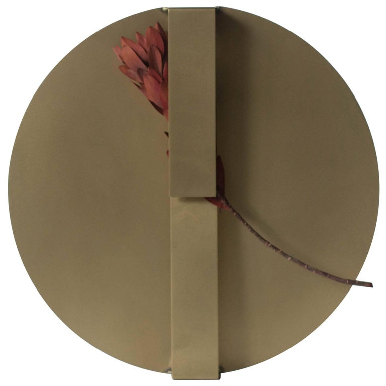 Wearing a Vase 01 Brass Object with Flowers Contemporary Japanese Zen style