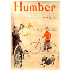 Large Original Antique Art Nouveau Cycling Poster for Humber Bicycles Paris