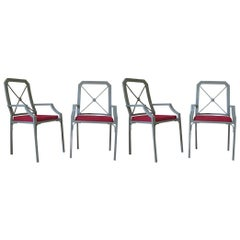Four Chic Directoire Style Iron Chairs, France, circa 1960s