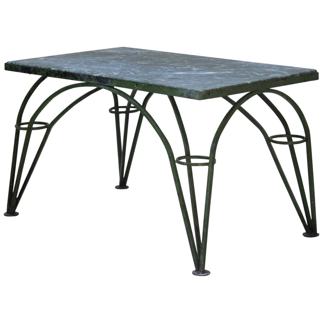 French 1950s Green Painted Iron Coffee Table