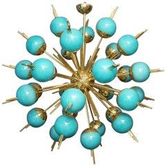 Blue Glass Globes and Brass Sputnik Chandelier