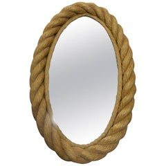 Beautiful Adrien Audoux and Frida Minet Rope Oval Mirror, circa 1960