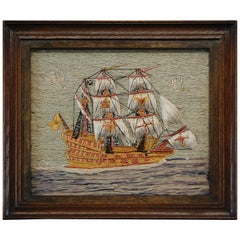 Early 20th Century Naive Ship Woolwork