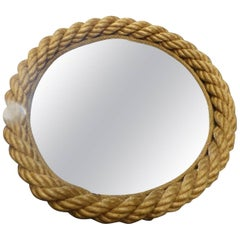 Beautiful Adrien Audoux and Frida Minet Rope Round Mirror, circa 1960