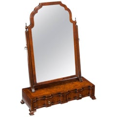 Fine Quality Antique Burr Walnut Shaped Front Dressing or Toilet Mirror