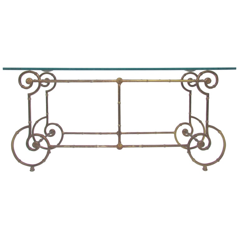 Hollywood Regency Style Gilt Metal Faux Bamboo Console or Sofa Table