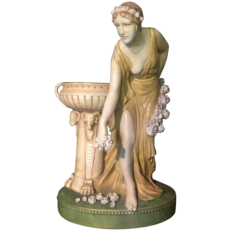 Imperial Amphora Austria Ceramic Woman Figure