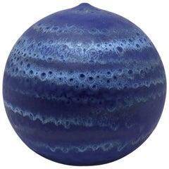 Ceramic Vase by Antonio Lampecco with Blue Glaze Decoration, circa 1970