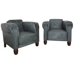 Pair of Art Deco Club Chairs Armchairs Leather, 1925
