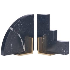 Odd Couple Bookends in Nero Marquinia Marble