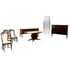 Spectacular Osvaldo Borsani Complete Five Pieces Dining Room Suite
