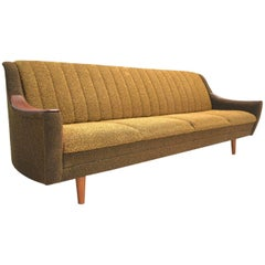 Norwegian Yellow and Brown Wool Four-Seat Teak Sofabed, Midcentury, 1960s