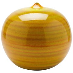Ceramic Vase by Antonio Lampecco with Yellow Glaze Decoration, circa 2000
