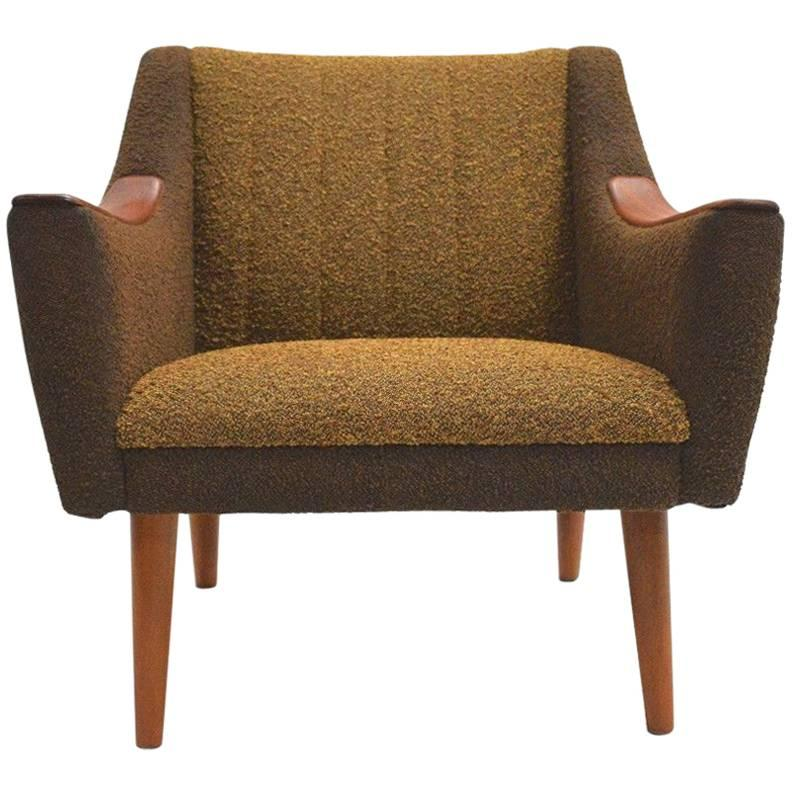 Norwegian Yellow And Brown Wool And Teak Armchair Midcentury Chair, 1960s 1