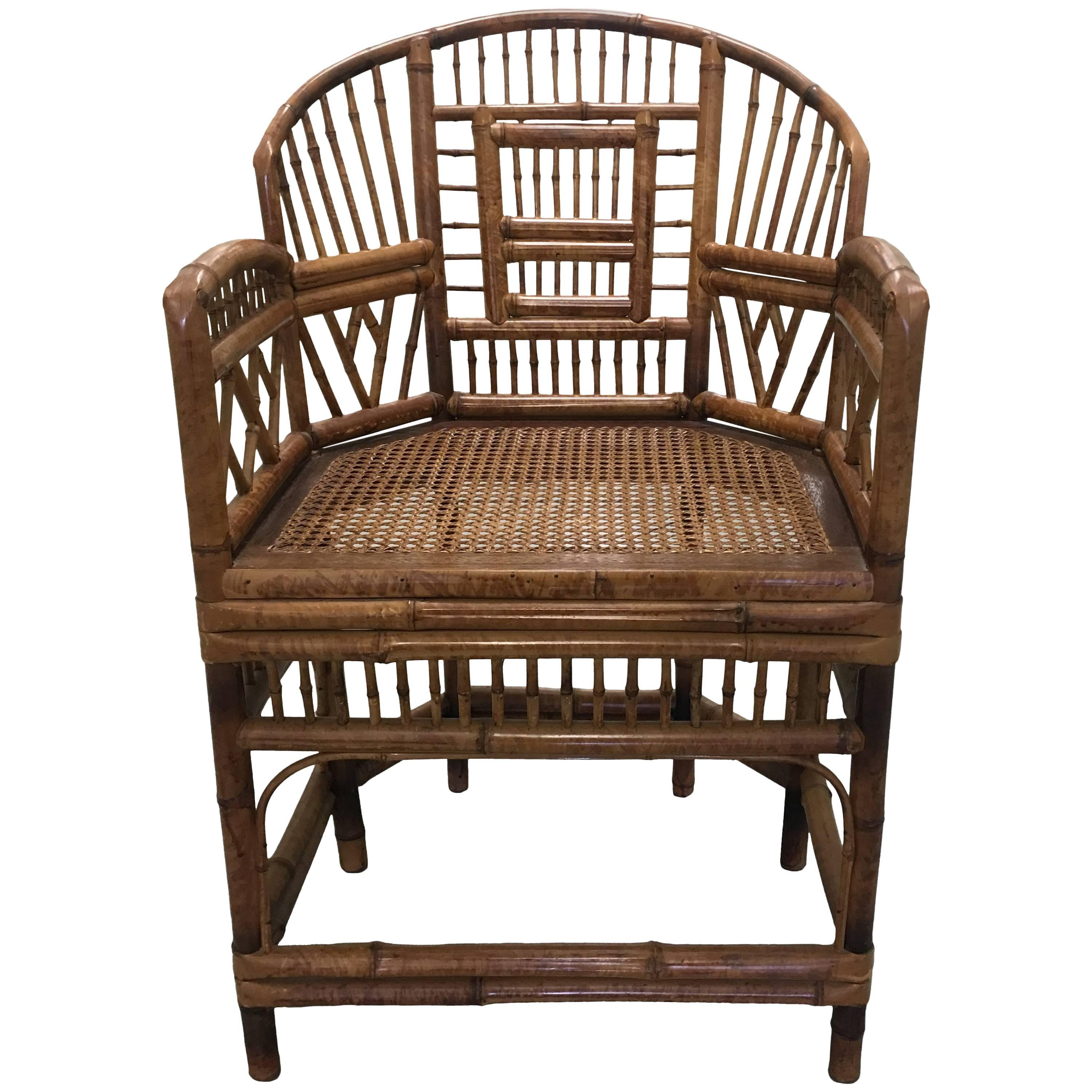 Chinese Chippendale Brighton Pavilion Bamboo Armchair For Sale