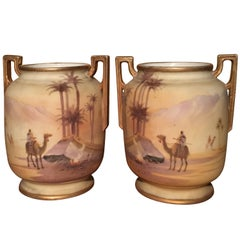 Noritake Japan Two Sahara Hand Painted Vases