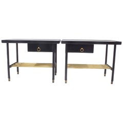 Jacques Adnet Hermes Night Stands Sofa Tables Hand Stitched Black Leather
