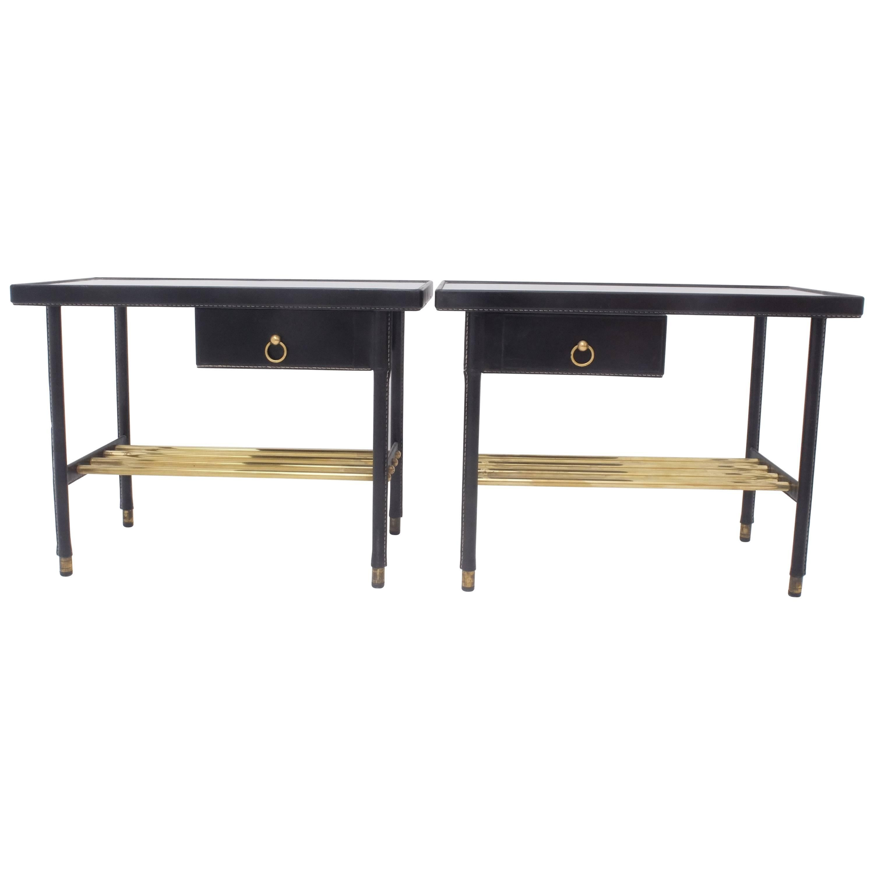jacques adnet hermes night stands sofa tables hand stitched black leather 1