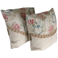 Pair of French Printed Cotton and Homespun Linen Pillows