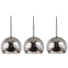 Up to Three Identical Chromed Globe Pendant Lamps, Germany, 1970s