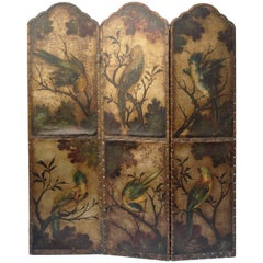 Leather Screen Gilded with Birds and Floral Decoration, England, 19th Century