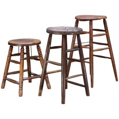 Just Two - Old West Saloon Hardwood Vintage Industrial Stools