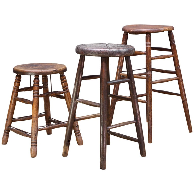 Old West Saloon Hardwood Vintage Stool Prop Table Pedestal Collection