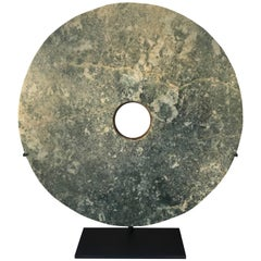 "Important Ancient Chinese Large 14.75"" Round Jade Bi Disc, 2000 BCE"