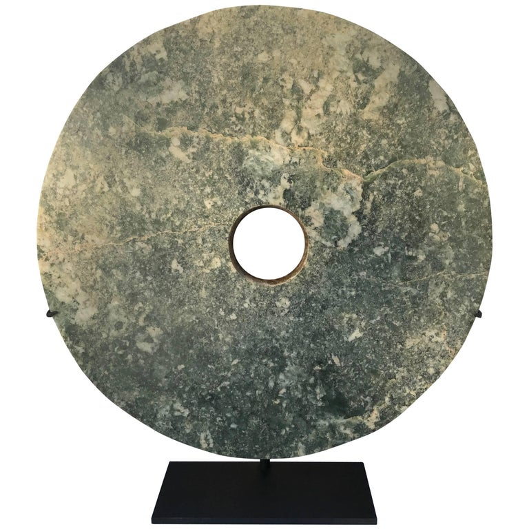 """Important Ancient Chinese Large 14.75"""" Round Jade Bi Disc, 2000 BCE For Sale"""