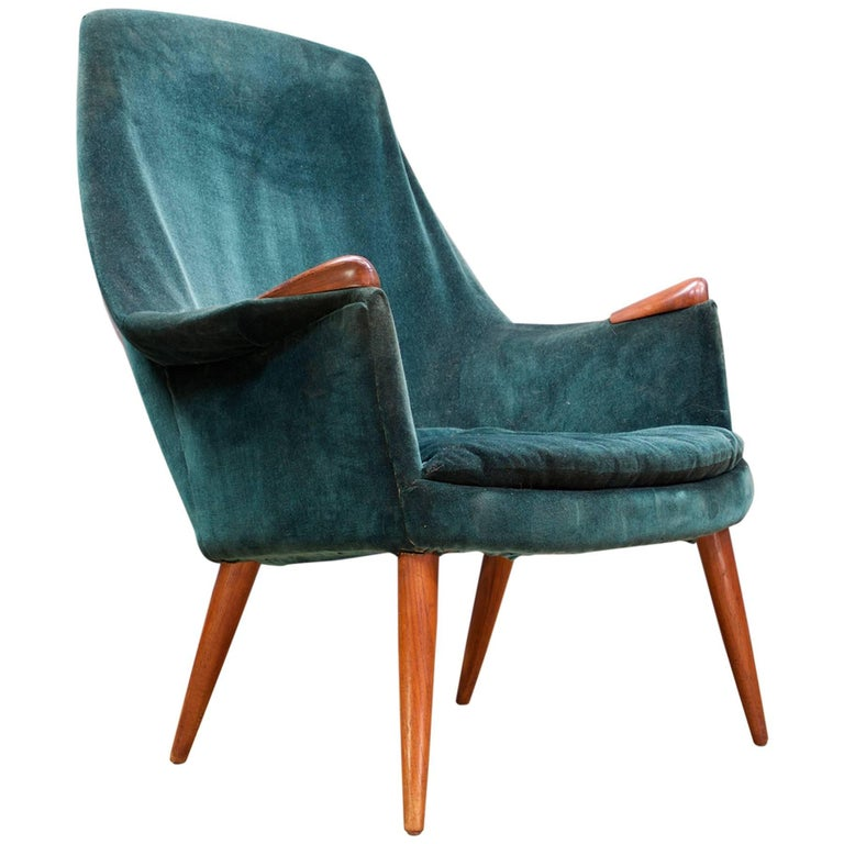 Gerhard Berg High Back Reading Arm Chair Hjelle Norway Peter Wessel  Mid-Century For Sale