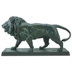 Antoine-Louis Barye Bronze Striding Lion Barbedienne, circa 1880