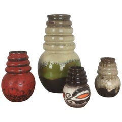 "Set of Four Vintage Pottery Fat Lava ""Vienna"" Vases Made by Scheurich, Germany"