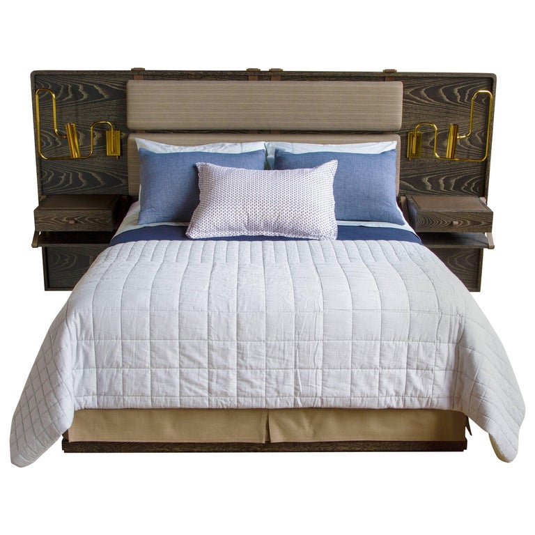 Marlton Bed with Upholstered Headboard, Leather Straps and Side Tables