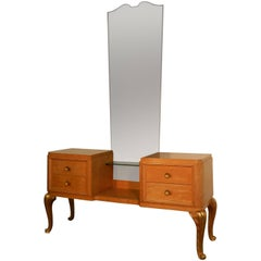 Maison Jansen, Art Deco Dressing Table in Lemon Tree and Gilt Metal