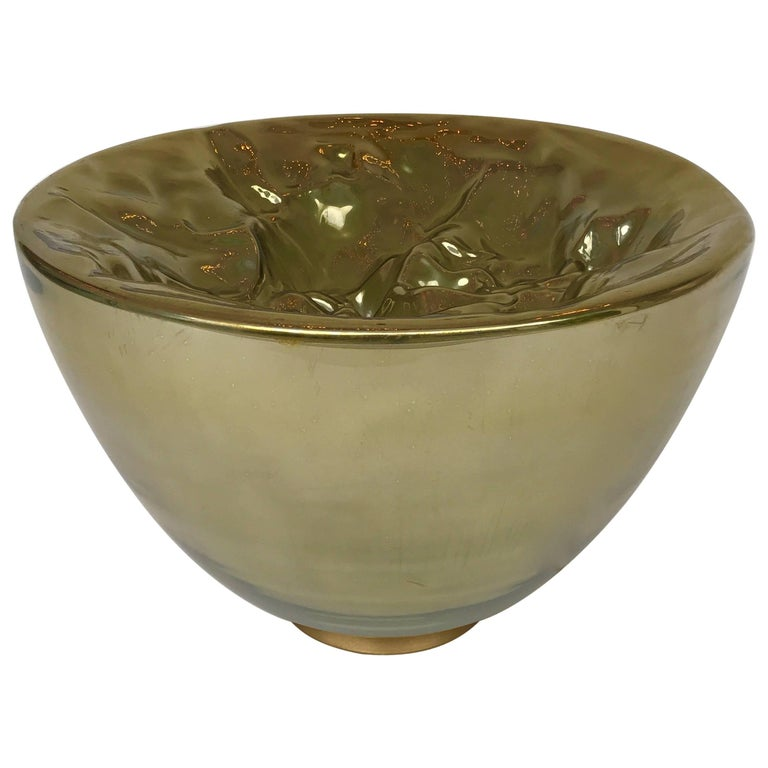 Bowl Lamp Gold Murano Glass by Carlo Nason, Italy, 1980s