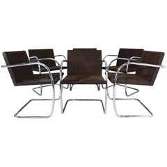 Set of Six Original Mies van der Rohe Brno Tubular Steel and Suede Chairs