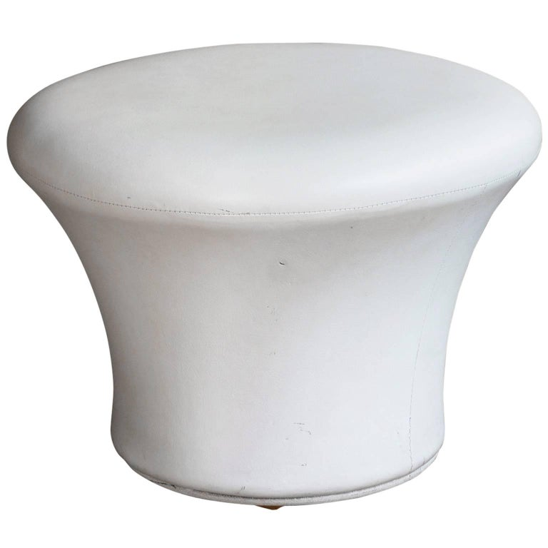 1960, Pierre Paulin, Original Crème Vinyl Mushroom Stool by Artifort
