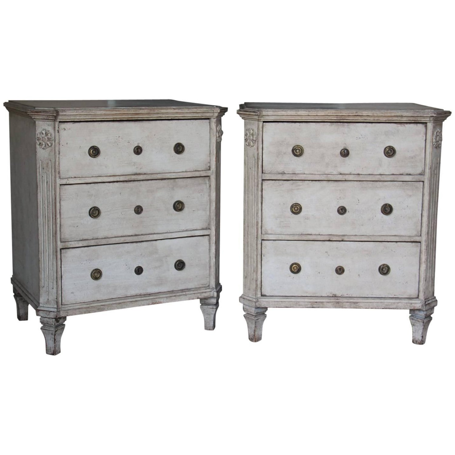 19th century swedish gustavian style pair of painted bedside chests - Gustavian Style Furniture